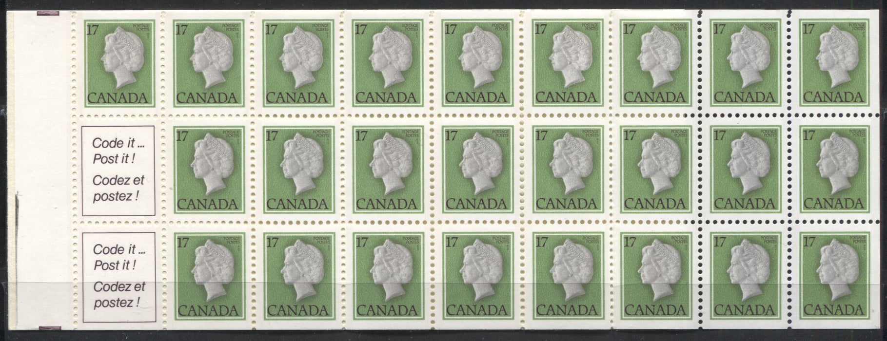 Canada McCann #BK81Ahvar 1977-1982 Floral and Environment Issue, Complete $4.25 Booklet DF Cover, DF Vertically Ribbed Pane, Black Wedges on Tab