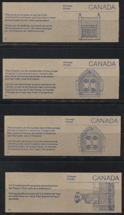 Canada #BK96a-b (McCann BK96Aa-Ba) 1988-1991 Wildlife and Architecture Issue, A Group of 8 50c Vending Machine Booklets With Different Cover Types and Tab Markings, All VF