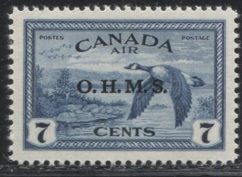 Canada #CO1 (SG#O171) 7c Deep Blue Canada Goose 1949-52 Peace Issue OHMS Overprint, A Superb Mint NH Example