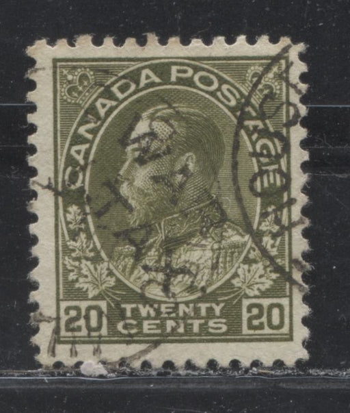 Canada #MR2C 20c Olive Green King George V, 1911-27 Admiral Issue, a VG Used Example of the War Tax Overprint