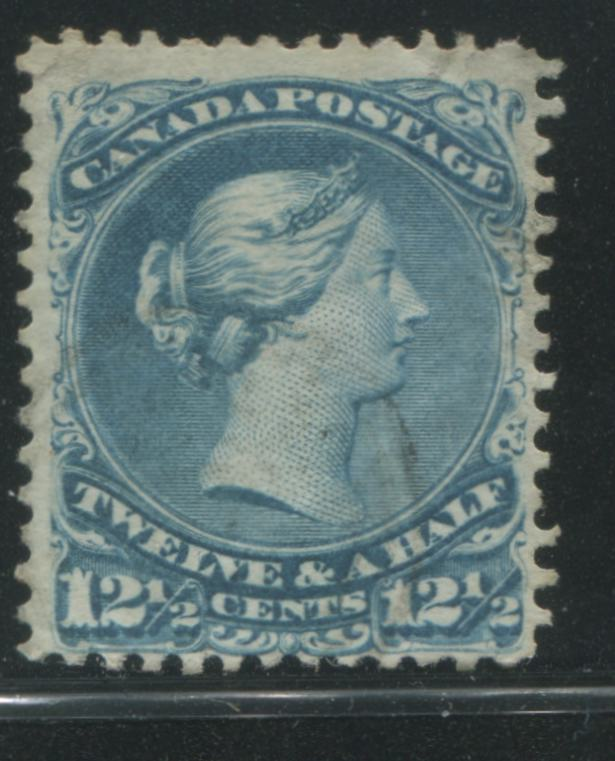 Canada #28ii 12.5c Blue Queen Victoria, 1868-1897 Large Queen Issue, A Very Good Used Example With Missing Frameline on Right Value Tablet Duckworth Paper 3