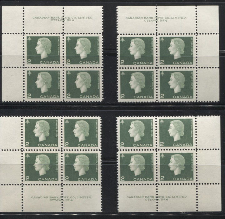 Canada #402 2c Green Queen Elizabeth II, 1962-1967 Cameo Issue, a Group of 4 VFNH Plate 4 Blocks on DF Paper Showing Different Gums