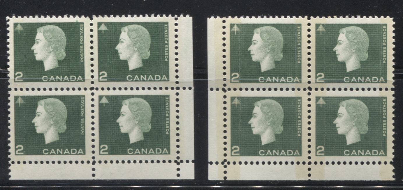 Canada #402ii 2c Green Queen Elizabeth II, 1962-1967 Cameo Issue, VFNH LR and LL Field Stock Blocks Tagged With Wide and Narrow Bars of Different Strengths
