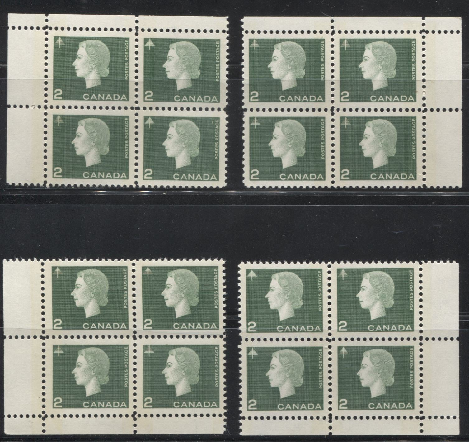 Canada #402p 2c Green Queen Elizabeth II, 1962-1967 Cameo Issue, A VFNH Matched Set of Winnipeg Tagged Field Stock Corner Blocks With Wide Selvedge, and Light Strength Tagging