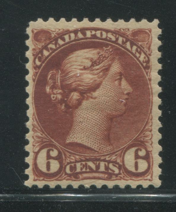 Canada #43 6c Red Brown Queen Victoria 1870-1897 Small Queen Issue, a VF OG Example of the Second Ottawa Printing, Perf. 12 x 12.1