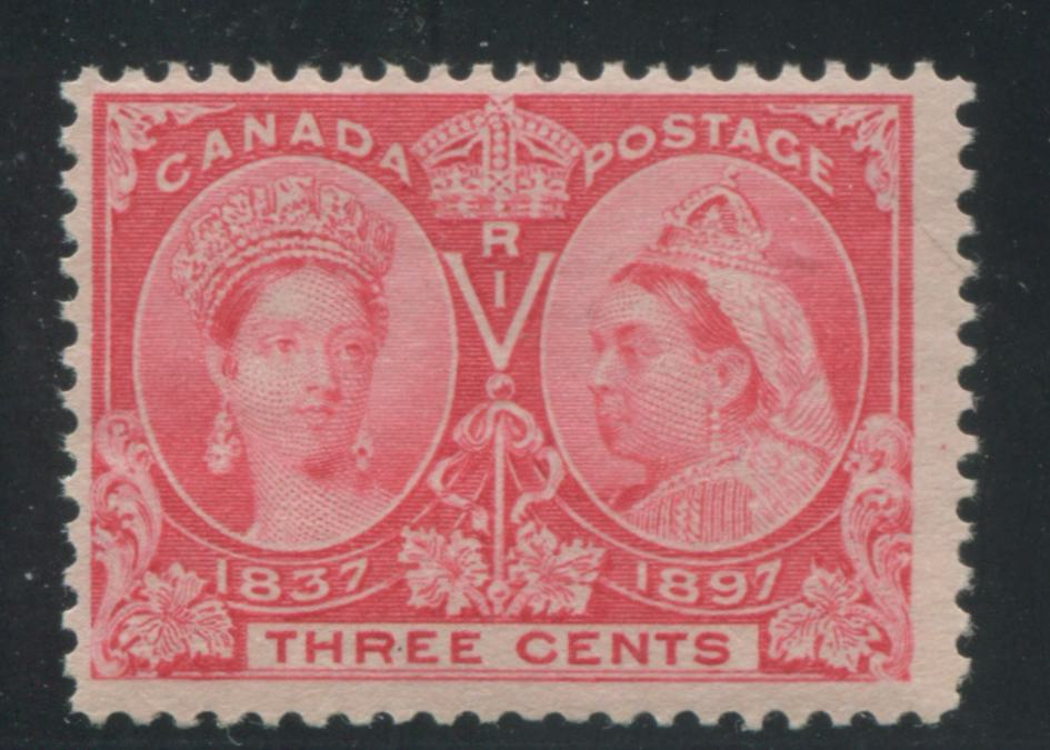 Canada #53i 3c Bright Rose 1897 Diamond Jubilee Issue, A Fine NH Example