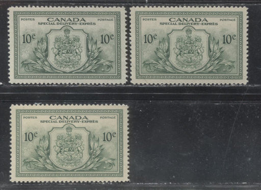 Canada #E11 1946-1950 Peace Issue - Specialized Lot of 3 VF NH Special Delivery Stamps, Showing a Variety of Shades and Gums