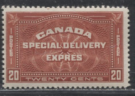 Canada #E4 20c Brownish Vermilion,  1930-1932 Arch Issue Special Delivery A Lovely CDS Used Example of the Left Sheet Margin Stamp, Used In-Period