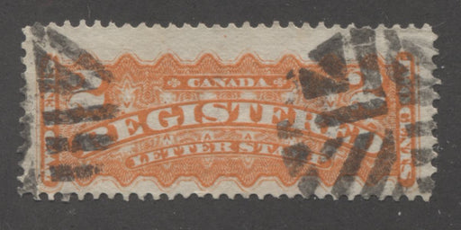 Canada #F1 (SG#R2) 2c Orange 1875-88 Registered Issue, A Fine Used Example of the Montreal Printing, Perf. 12.1 x 12 on Stout Horizontal Wove With Fancy Cork Cancel