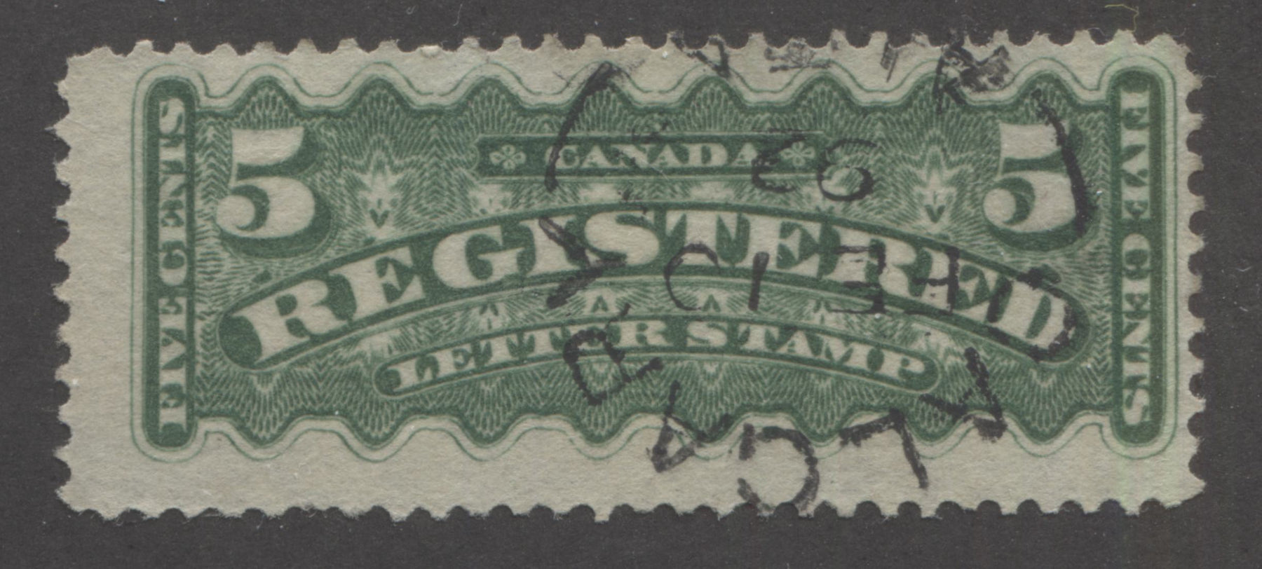 Canada #F2i 5c Green 1875-88 Registered Issue, A Fine Used Example of the Second Ottawa Printing, Perf. 12 on Soft Horizontal Wove Paper, With February 10, 1892 Calgary Split Ring CDS Cancel