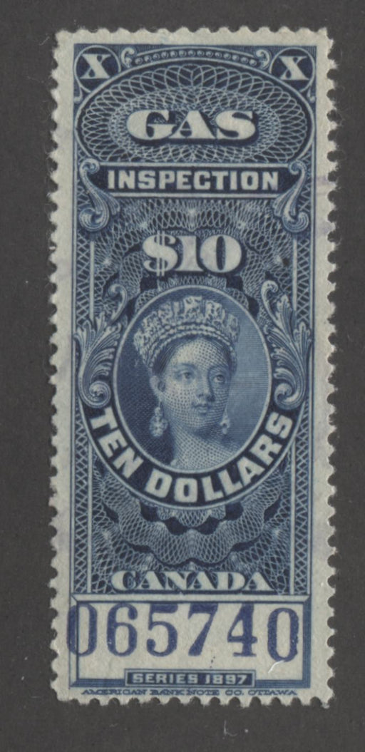 Canada #FG26 $10 Dark Blue Queen Victoria, 1897 Gas Inspection, a VF Used Single