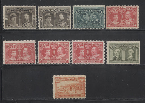 Canada #96/102 1/2c Brown Black - 15c Orange, 1908 Quebec Tercentenary Issue, A Group of 9 Fine Mint Stamps Including Additional Shades