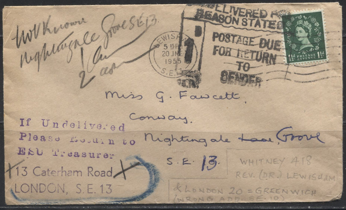 Great Britain #517 1.5d Deep Green Queen Elizabeth II, 1952-1954 Wilding Issue, Tudor Crown Watermark, A Single Usage on a Fine Undelivered Local Cover