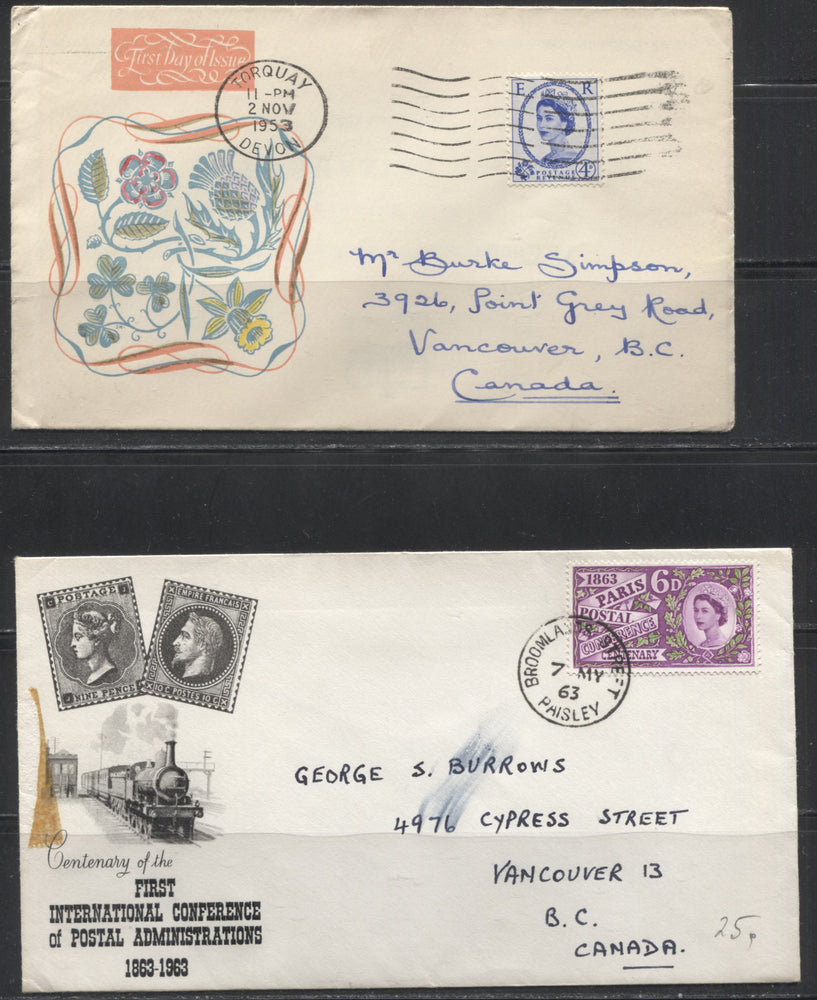 Great Britain 1953-1970 Group of 7 Covers and First Day Covers to Canada, Fine to Very Fine