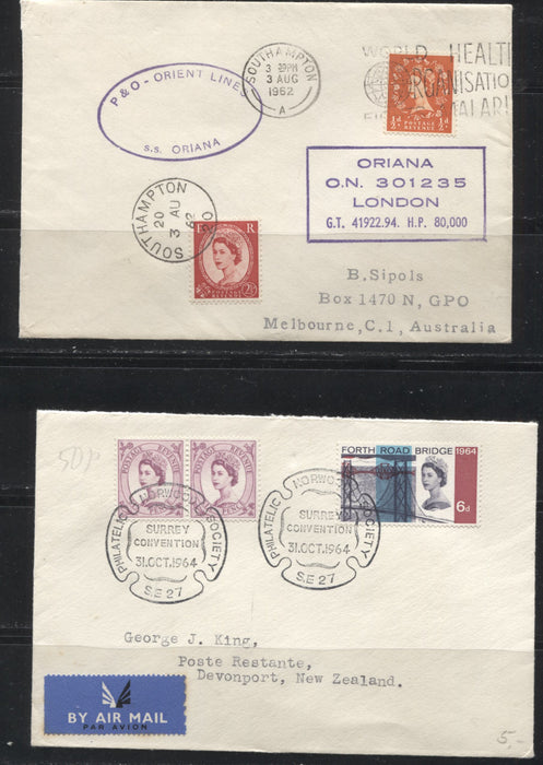 Great Britain 1961-1964 Group of 4 Wilding Philatelic Convention Covers to Australia and New Zealand