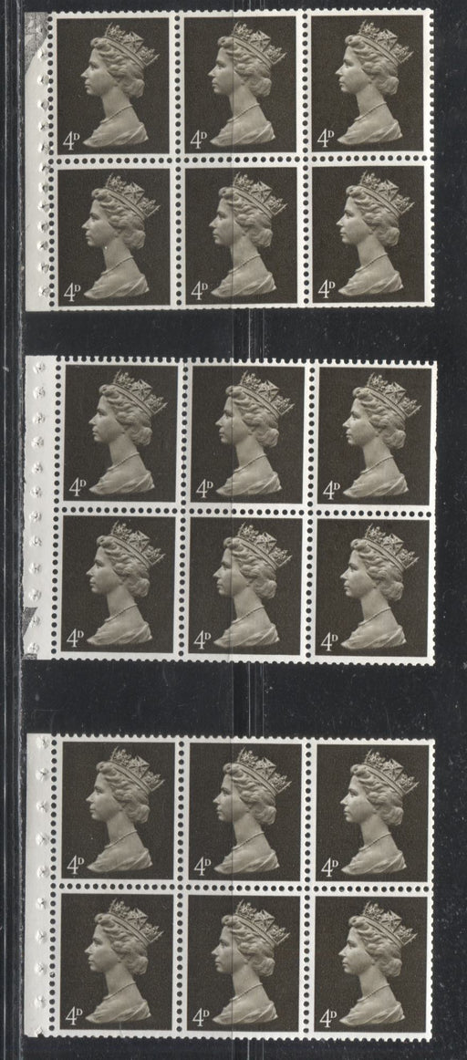 Great Britain SG#UB11 4d Sepia Black 1967-1971 Pre-Decimal Machin Heads, Three Fine & VFNH Booklet Panes of 6, I-Type Perf., Various Papers, PVA Gum