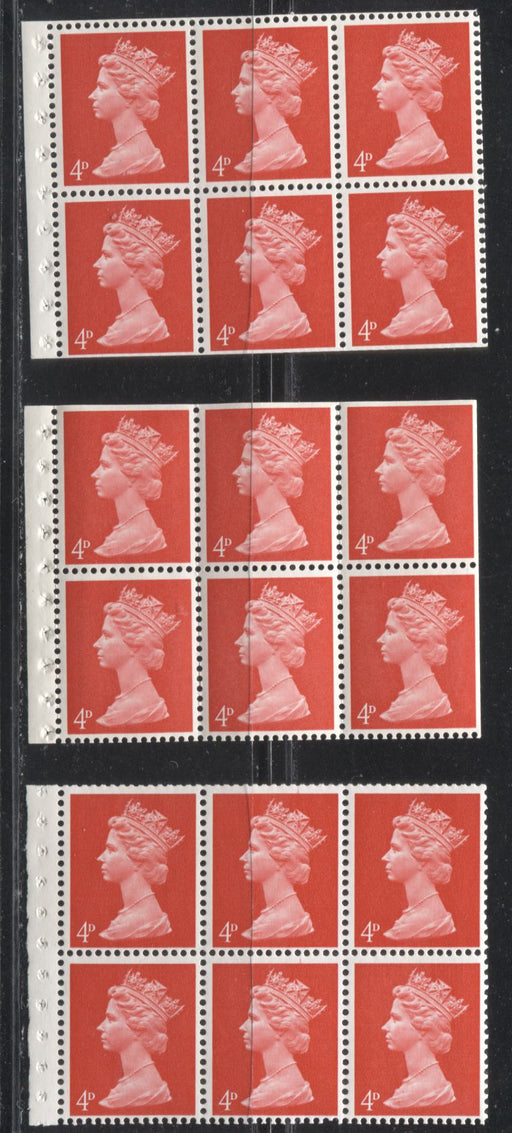 Great Britain SG#UB14A 4d Bright Vermilion 1967-1971 Pre-Decimal Machin Heads, Three Fine NH Booklet Panes of 6, I-Type Perf., Various Papers, PVA Gum