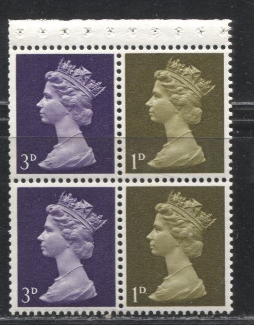 Great Britain SG#724l 1d Yellow Olive & 3d Deep Purple 1967-1971 Pre-Decimal Machin Heads, A VFNH Booklet Pane of 4, AP-Type Perf., HF/HB Paper, Streaky PVA Gum