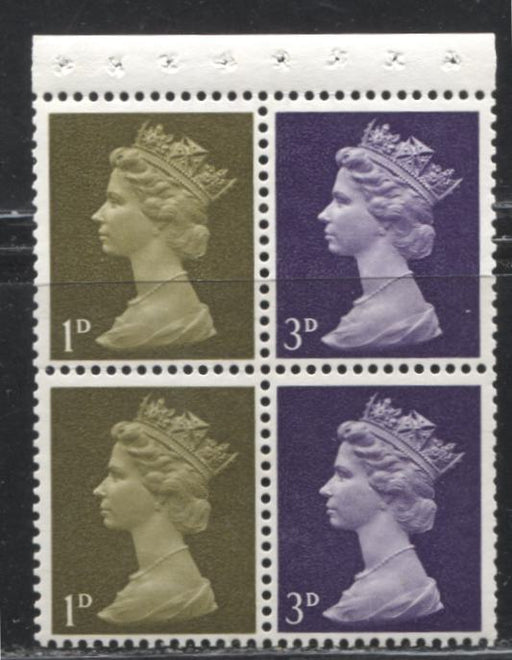 Great Britain SG#724l 1d Yellow Olive & 3d Deep Purple 1967-1971 Pre-Decimal Machin Heads, A VFNH Booklet Pane of 4, I-Type Perf., HF/HB Paper, Streaky PVA Gum