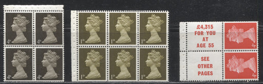 Great Britain SG#UB1/UB18 1d Yellow Olive - 4d Bright Vermilion 1967-1971 Pre-Decimal Machin Heads, Three Fine and VFNH Booklet Panes, Various Configurations, Papers and Phosphors As Noted
