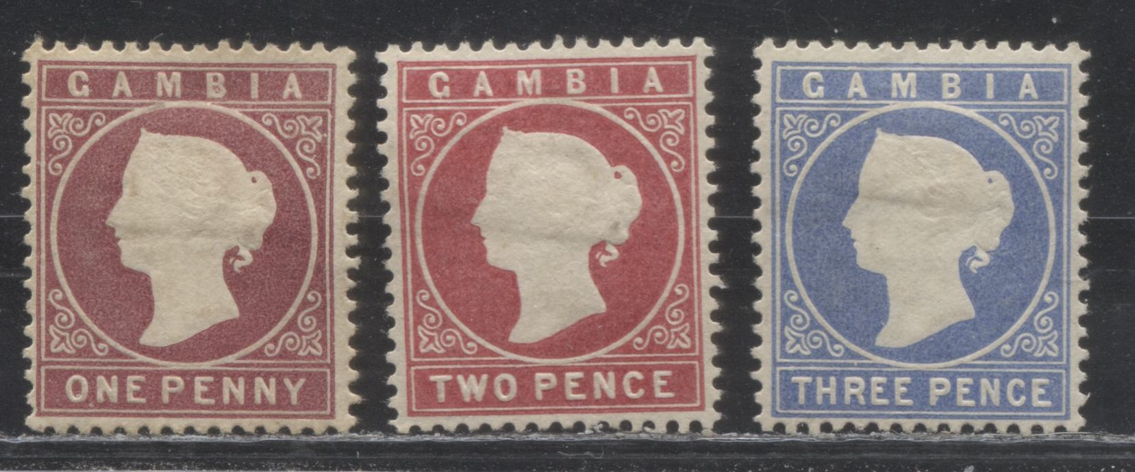Gambia #6-8 (SG#12B-14cB) 1d Maroon - 3d Ultramarine Queen Victoria, 1880-1881 Cameo Issue, Watermarked Crown CC Upright, Comb Perf 14, Fine and VF Unused Examples