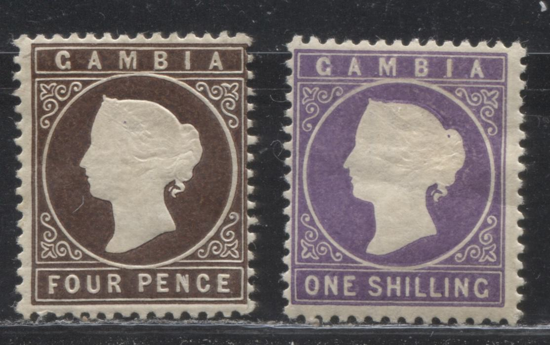 Gambia #17, 19 (SG#31, 35) 4d Deep Brown & 1/- Violet Queen Victoria, 1886-1893 Cameo Issue, Watermarked Crown CA, Comb Perf 14, Fine Mint OG Examples