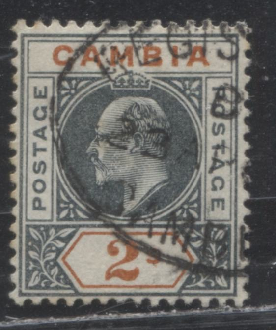 Gambia #37 (SG#54) 2/- Deep Slate and Orange King Edward VII, 1902-1905 Keyplate Issue, a VF Used Example