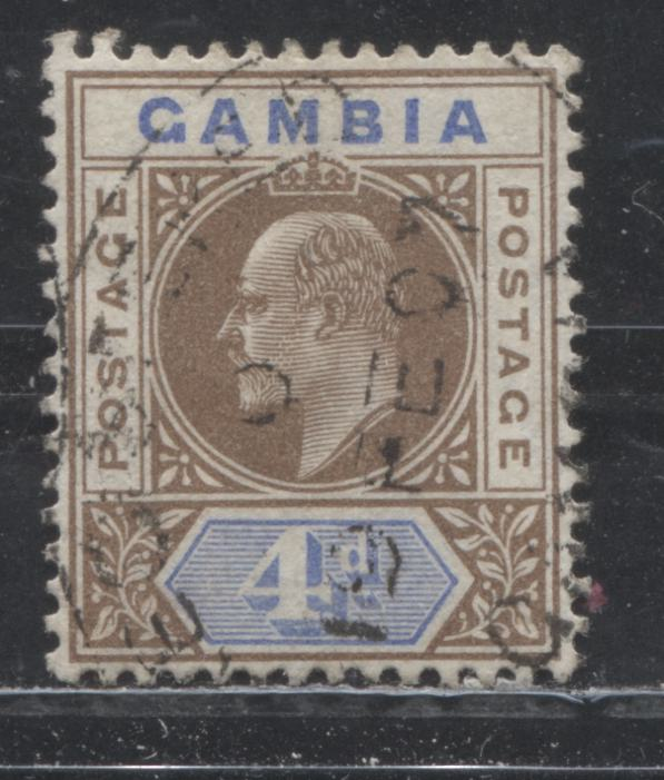 Gambia #48 (SG#62) 4d Brown and Ultramarine King Edward VII, 1904-1906 Keyplate Issue, a VF Used Example