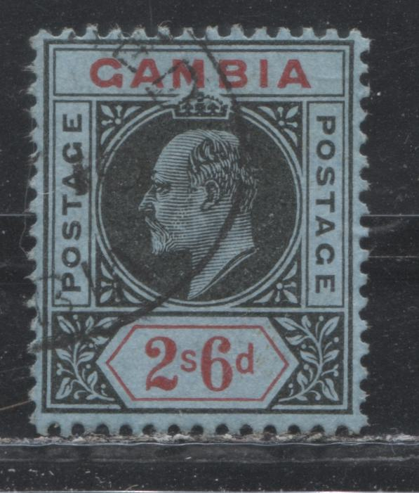Gambia #63 (SG#84) 2/6d Black and Red on Blue King Edward VII, 1909-1912 Keyplate Issue, a Fine Used Example