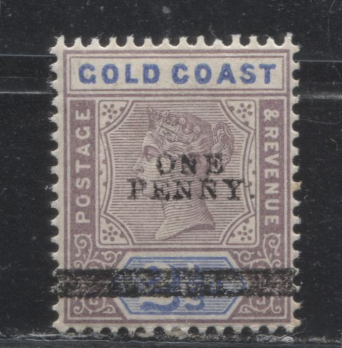 Gold Coast #36 (SG#35) 1d on 2.5d Dull Mauve and Ultramarine Queen Victoria, 1898-1902 Imperium Keyplate Issue, a VF Mint NH Example