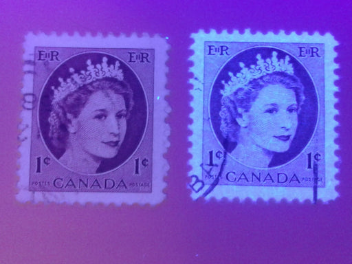 Canada #337, vii 1c Violet Brown Queen Elizabeth II, 1954-1962 Wilding Issue, Specialized Lot of 14 VF Used Stamps, Covering a Range of Papers, Perforations and Shades