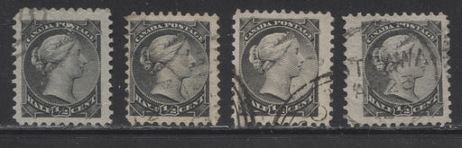 Canada #34 Half Cent Black & Grey Black 1870-1897 Small Queen Issue, Four Fine Used Montreal Printings, Each a Different Shade, Various Perfs.