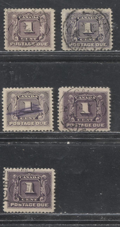 Canada #J1, J1c 1c Dull Violet & 1c Reddish Violet, 1906-1928 First Postage Due Issue, a F/VF Used Selection of Wet and Dry Printings - Much Nicer Than What You Usually See
