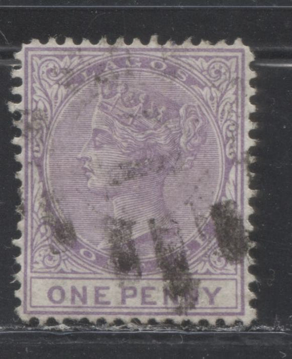 Lagos SG#10 1d Pale Bluish Lilac, Queen Victoria, 1876-1880 Line Perf. 14 Crown CC Watermarked Issue, 1st Printing, A VF Used Example