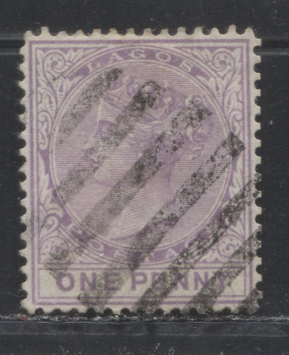Lagos SG#10 1d Pale Milky Bluish Lilac, Queen Victoria, 1876-1880 Line Perf. 14 Crown CC Watermarked Issue, 3rd Printing, A VF Used Example