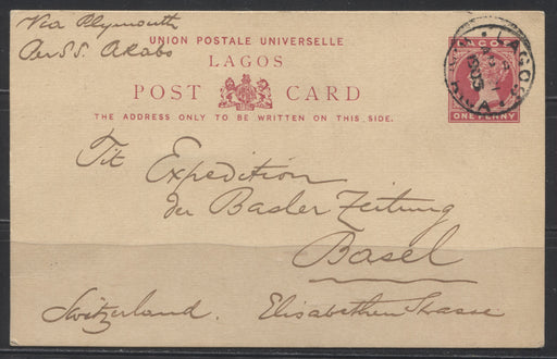 Lagos 1d Carmine UPU Postcard Sent to Basel, Switzerland in 1903