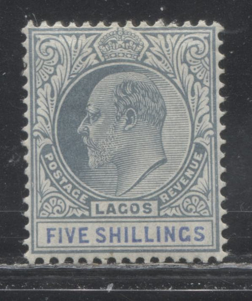 Lagos SG#62a 5/- Dull Bluish Green and Ultramarine, King Edward VII, 1904-1906 Multiple Crown CA Watermarked Issue, a Very Fine OG Example of the Chalky Paper, Only 6,240 Issued!
