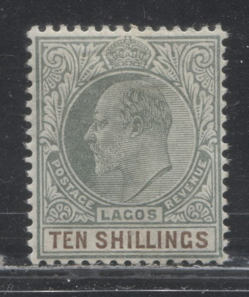 Lagos SG#63 10/- Dull Green and Deep Brown, King Edward VII, 1904-1906 Multiple Crown CA Watermarked Issue, a Very Fine OG Example of the Ordinary Paper, Only 6,240 Issued!