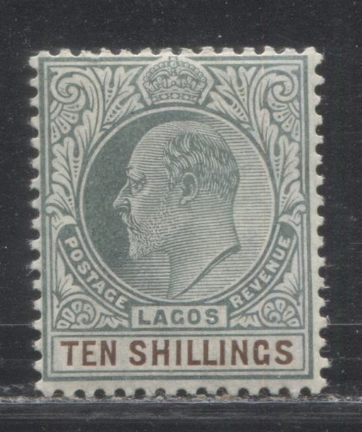 Lagos SG#63a 10/- Deep Dull Green and Deep Brown, King Edward VII, 1904-1906 Multiple Crown CA Watermarked Issue, a Fine OG Example of the Chalky Paper, Only 6,240 Issued!