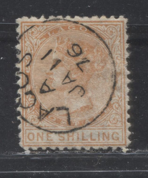 "Lagos SG#8a 1/- Pale Dull Orange, Queen Victoria, 1874-1876 Perf. 12.5 Crown CC Watermarked Issue, 2nd Printing, A Very Fine CDS Used Example With ""Shilling"" 16.5 mm Long"