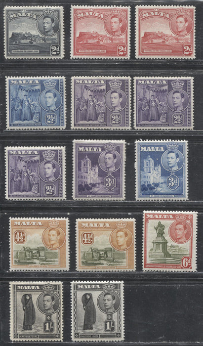 Malta SG#221-226 2d Slate Black - 1/- Black, 1938-1943 Pictorial Defintive Issue, a Specialized Group of Mostly all VFLH Stamps With Additional Printings of Several Values
