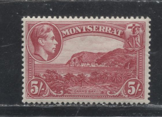 Montserrat #110 5/- Carmine 1938-1951 Pictorial Definitive Issue, a VFLH Example of the Perf. 13.5 1938 Printing