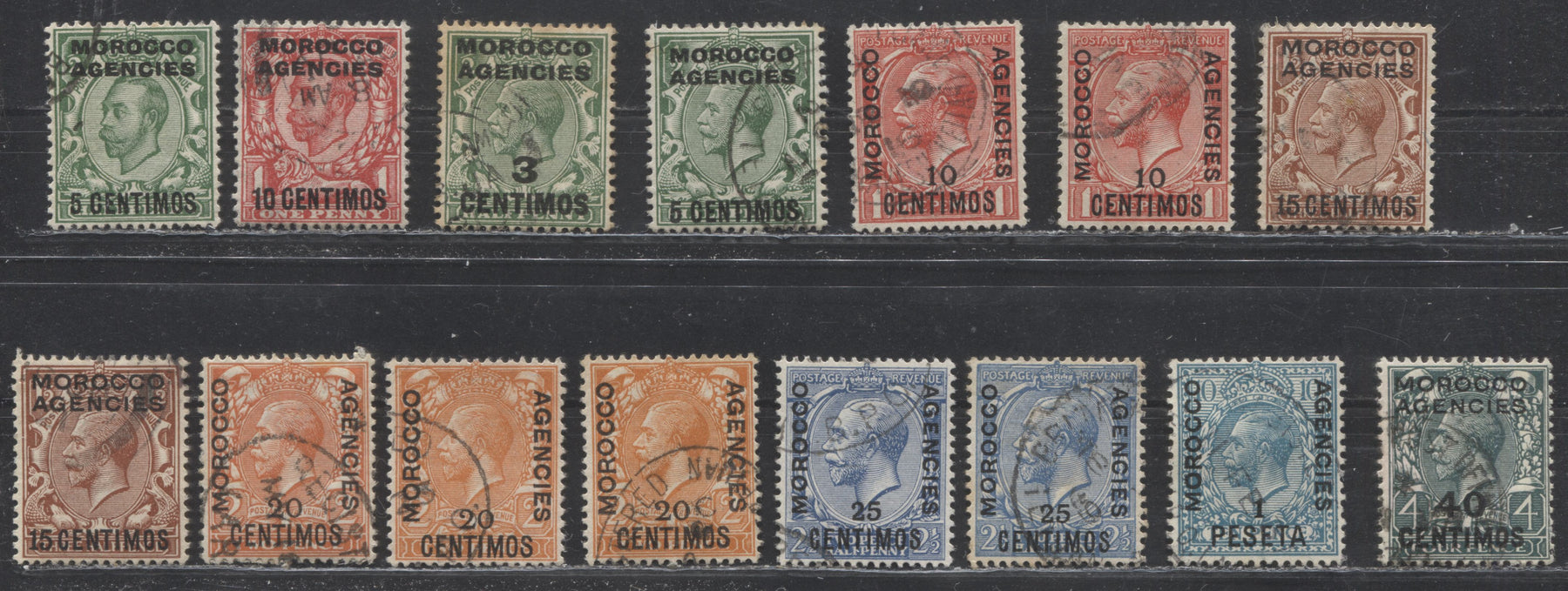Morocco Agencies Spanish Currency #49/59 (SG#126-135) 1911-1924 King George V Heads, Watermarked Royal Cypher, Overprinted and Surcharged, A Complete F-VF Used Set