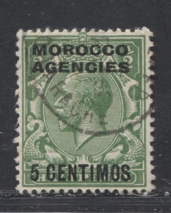 Morocco Agencies Spanish Currency #63 (SG#143) 5c on 1/2d Green, 1924-1934 King George V Heads, Watermarked Block Cypher, Overprinted and Surcharged, a VF Used Example