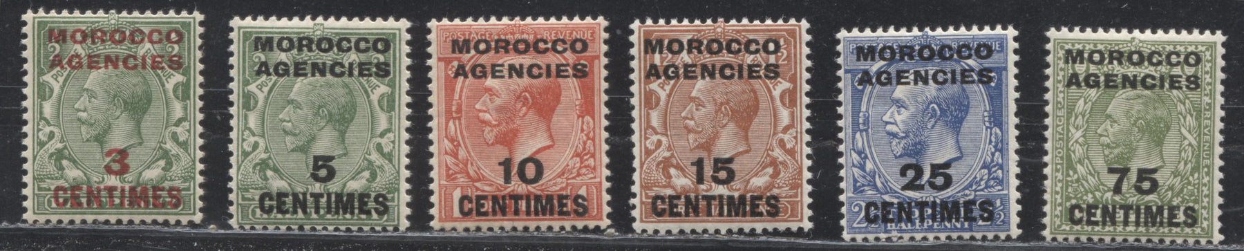 Morocco Agencies French Currency #401/408 (SG#191/198) 1913-1924 King George V Heads, Watermarked Royal Cypher, Overprinted and Surcharged, Six Fine and VF NH Mint Stamps