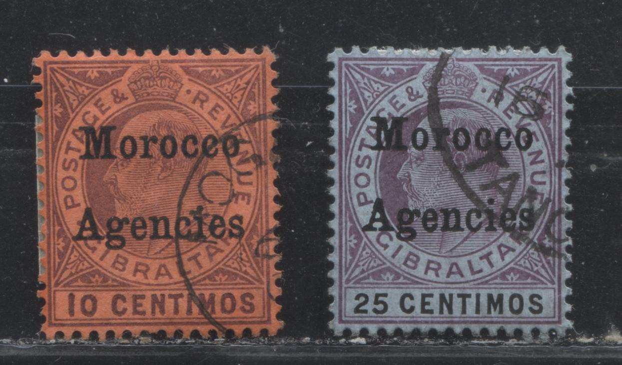 Morocco Agencies Spanish Currency #28, 30 (SG#21, 25) 10c Purple on Red & 25c Purple & Ultramarine on Blue King Edward VII 1905-1906 Overprinted Gibraltar Keyplate Issue, VF Used Examples of the Multiple Crown CA Watermark