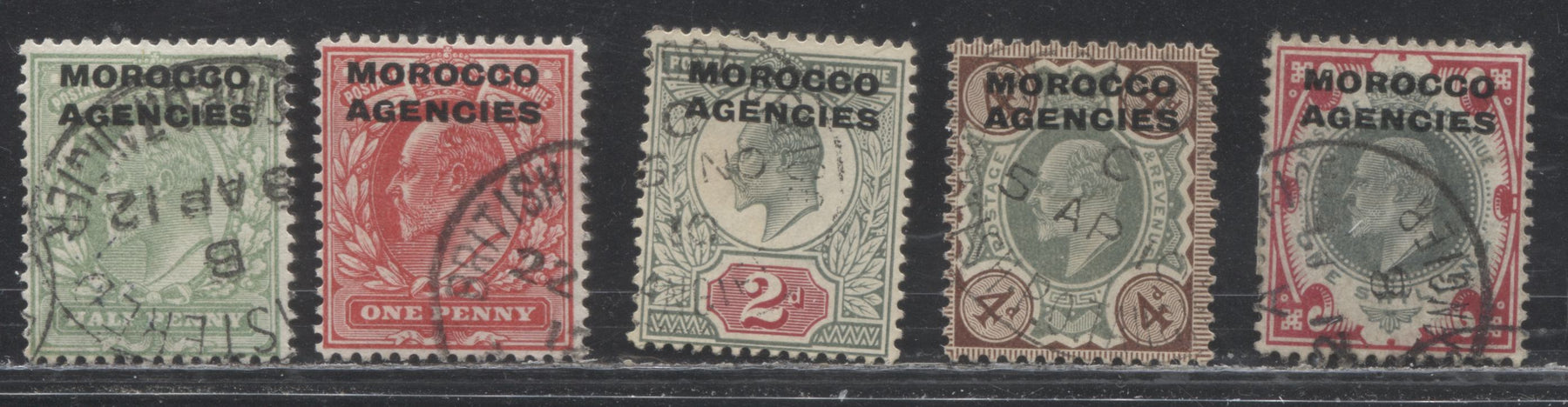 Morocco Agencies British Currency #201/207 (SG#31/37) 1/2d Pale Yellow Green - 1/- Dull Green Carmine, King Edward VII 1902-1913 Overprinted Great Britain Keyplate Issue, 5 Fine and VF Used Stamps
