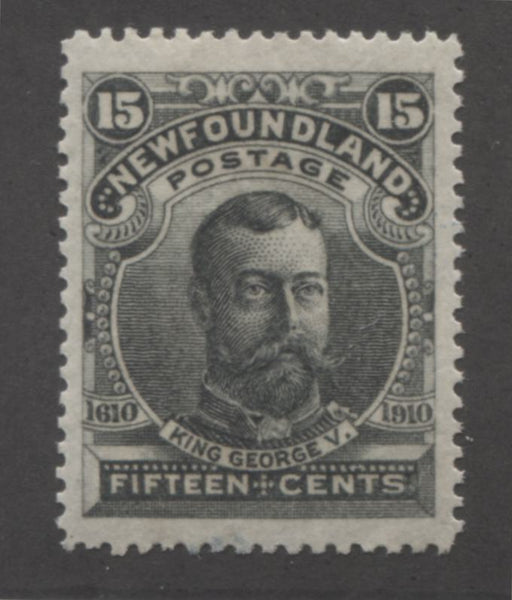 Newfoundland #103 15c Slate Green King George V, 1911 Engraved John Guy Issue, A Very Fine LH Mint Example