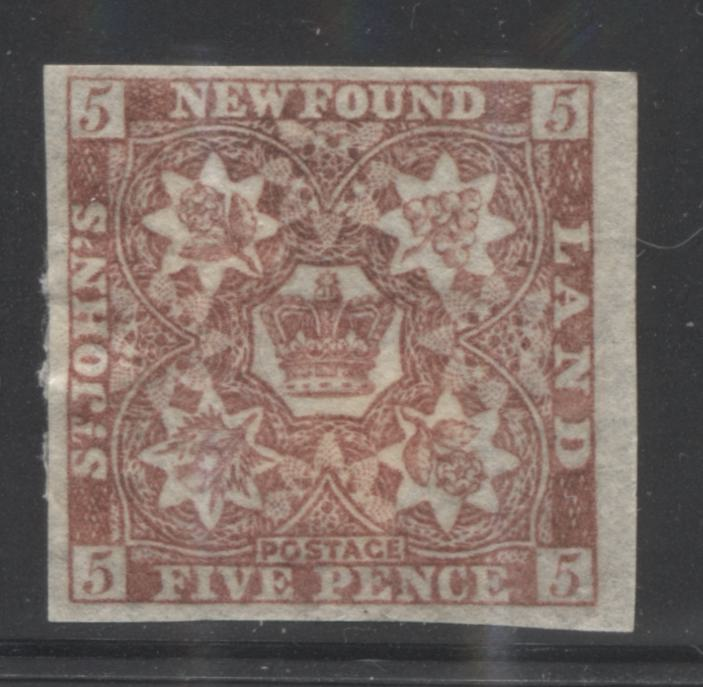 Newfoundland #19a 5d Venetian Red (Orange Brown), Crown and Heraldic Flowers, 1861-1862 Pence Issue, Very Fine Mint OG Example on Medium Hard Wove Paper