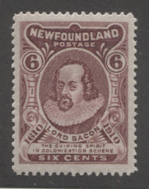 Newfoundland #98 6c Deep Claret Lord Bacon,1911 John Guy Issue, A Very Fine Extremely LH Example, Line Perf. 14.2